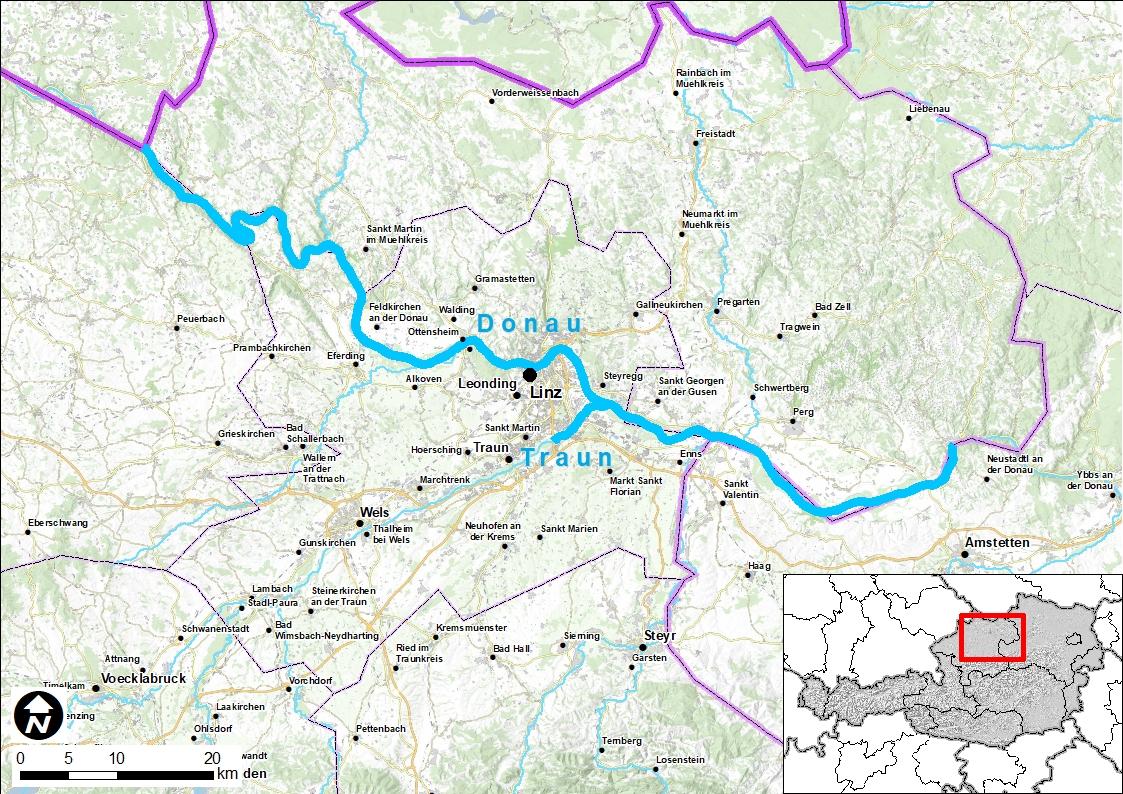 Projekt Donau: Eine Landkarte mit einer Hervorhebung der Flüsse Donau und Traun