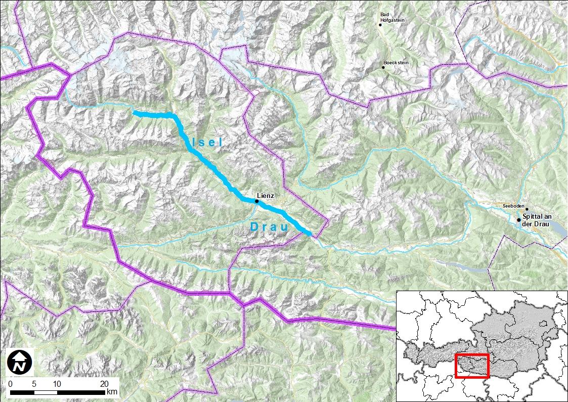 Eine Landkarte mit einer Hervorhebung des Flusses Isel