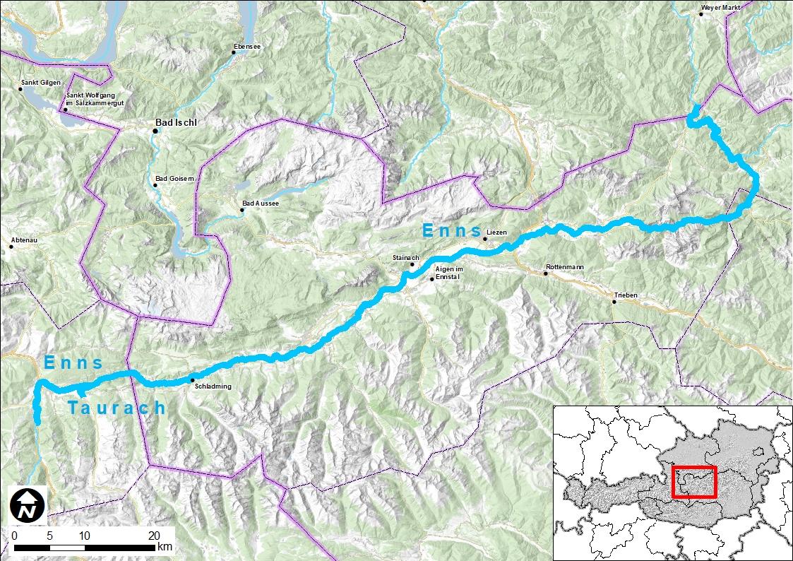 Eine Landkarte mit einer Hervorhebung des Flusses Enns