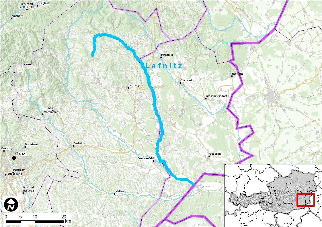 Eine Landkarte mit einer Hervorhebung des Flusses Lafnitz