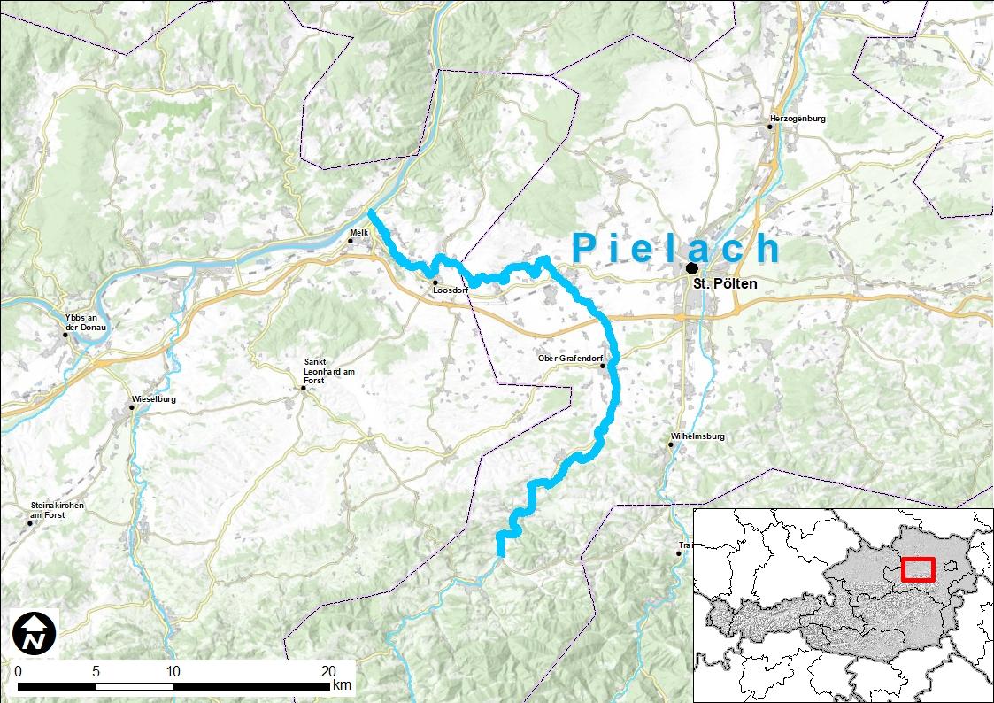 Eine Landkarte mit einer Hervorhebung des Flusses Pielach